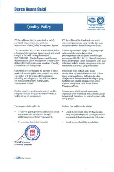 About Us QUALITY POLICY quality policy 2018